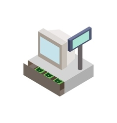Sale cash register with cash drawer icon vector