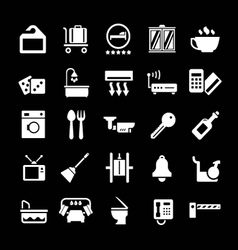 Set icons of hotel hostel and rent apartments vector