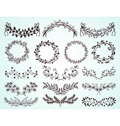 Set of hand-drawn floral borders and wreaths vector