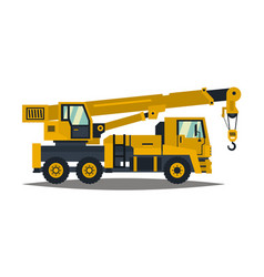 truck crane yellow isolated on white background vector image vector image