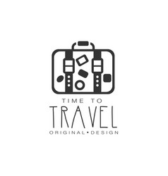 Typographic design logo suitcase with stickers vector