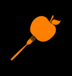 Vegetarian food sign orange icon on vector
