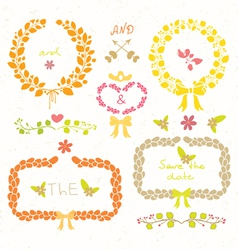 Wedding romantic set vector