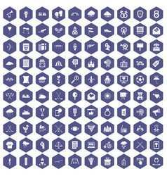 100 arrow icons hexagon purple vector