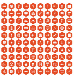 100 construction site icons hexagon orange vector