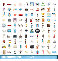 100 successful icons set cartoon style vector image vector image