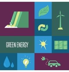 Green energy icons set eco concept vector