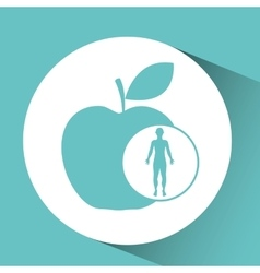 Silhouette man health apple icon vector