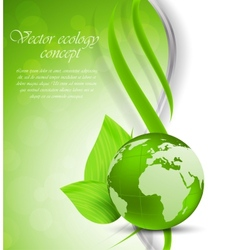Green background with globe vector
