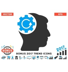 Intellect gear rotation flat icon with 2017 bonus vector