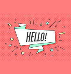 Ribbon banner with text hello vector