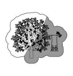 Monochrome background sticker of tree with leaves vector