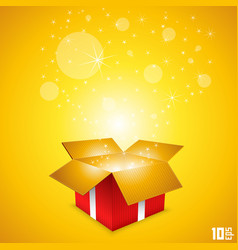 Open gift card box art vector