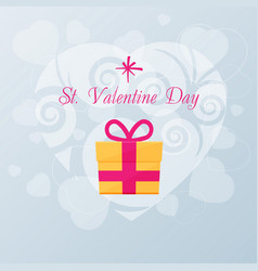 Valentines day card with gift vector