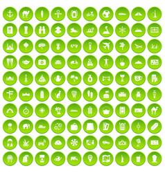 100 tourism icons set green circle vector