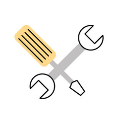 Wrench and screwdriver isolated icon vector