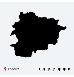 High detailed map of andorra with navigation pins vector