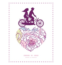 Colorful line art flowers couple on tandem bicycle vector