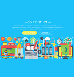 3d printer technology flat concept set 3d vector image vector image