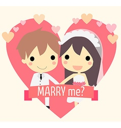 Cute couple widding vector