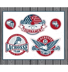 Set of vintage lacrosse labels and badges vector image