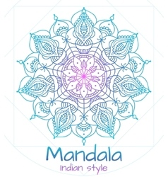 Mandala thin line indian style vector