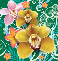 Seamless floral pattern with orchid on green vector