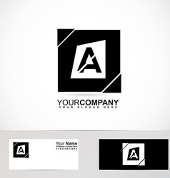 Alphabet letter a black and white logo vector