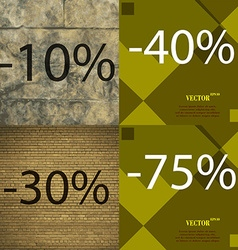 40 30 75 icon set of percent discount on abstract vector