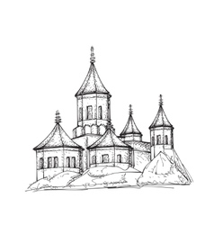 Sketch of church hand drawn vector