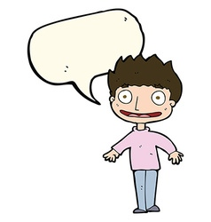 Cartoon excited boy with speech bubble vector