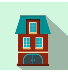 House with a mansard and garage flat icon vector