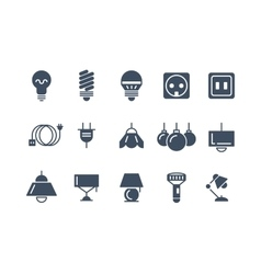 Lamp and bulbs black icons set electrical vector