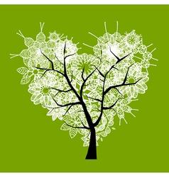 Art tree heart shape vector image