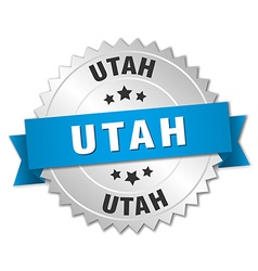 Utah round silver badge with blue ribbon vector