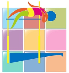 Sport icon design for high jump in colors vector