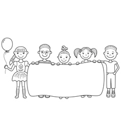 Cartoon children holding empty banner vector
