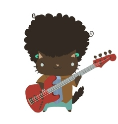 Cartoon casual little afro cat with guitar flat vector
