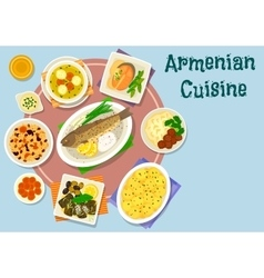 Armenian cuisine dinner icon for menu design vector