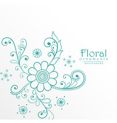 Beautiful blue floral decoration background vector