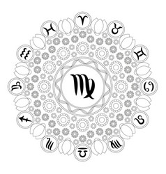 Black and white mandala zodiac virgo vector