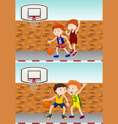 Boys playing basketball by the street vector
