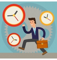 Businessman against time character cartoon vector