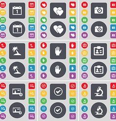 Calendar Heart Camera Hand Contact Picture Tick vector image
