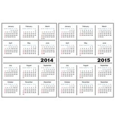 Calendar template 2014 2015 vector image vector image