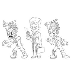 cartoon walking zombie scientist character set vector image