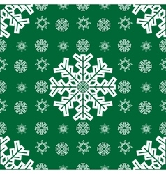 Christmas snowflakes seamless green background vector