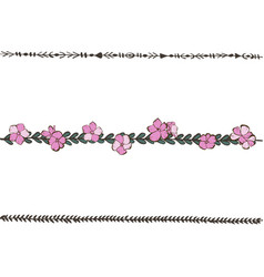Doodle floral line with pink phlox flowers flower vector