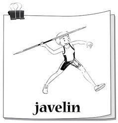 Doodle of man doing javelin vector
