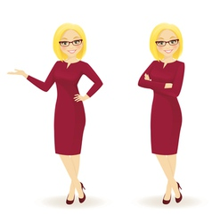 Elegant businesswoman in different poses vector image